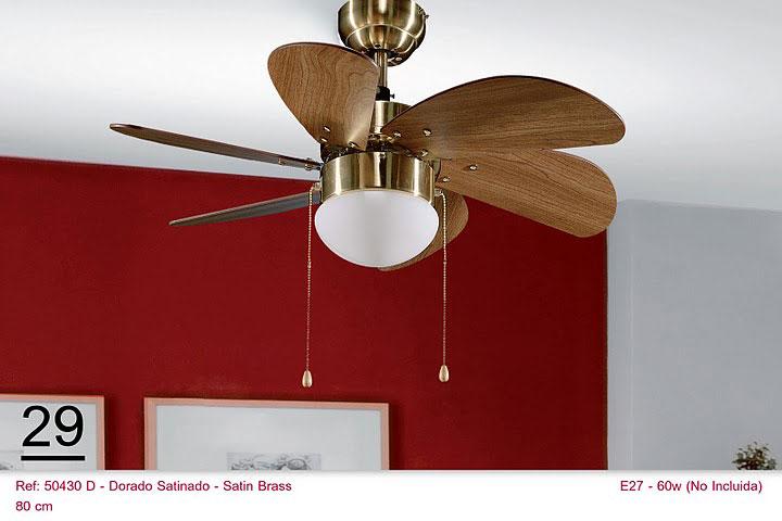 Ventilador de techo dorado aspas color roble blog de - Ventilador techo rustico ...