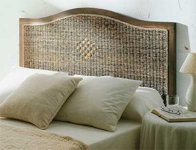 Cabecero de cama en madera y abaca blog de artesania y - Cabeceros de mimbre ...