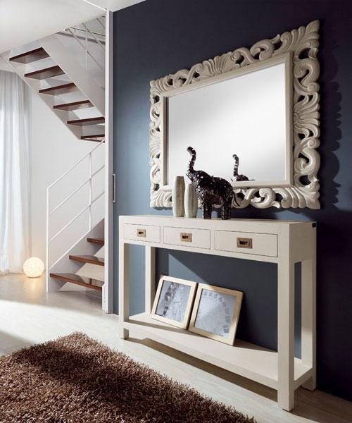 Casas cocinas mueble repisa pared for Mueble recibidor madera