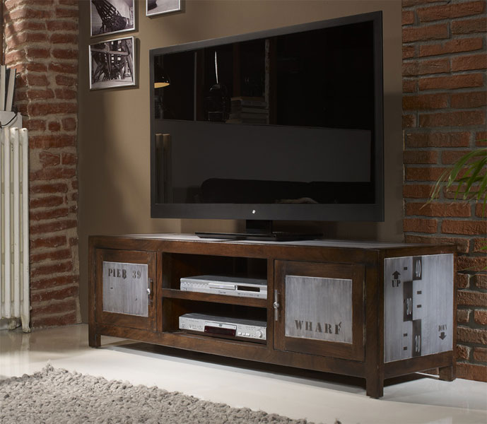 Mesa tv serie industrial blog de artesania y decoracion for Mueble television industrial