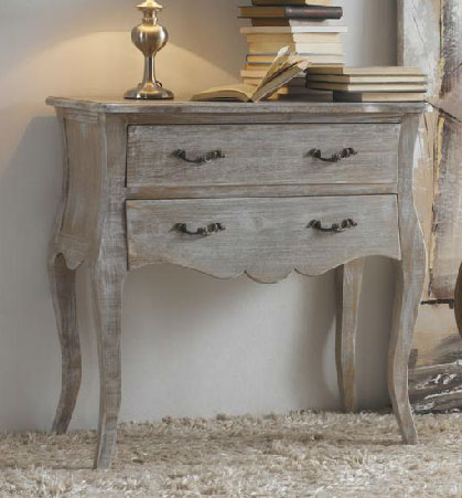 Consola 2 cajones madera decapada blog de artesania y for Muebles antiguos pintados de blanco