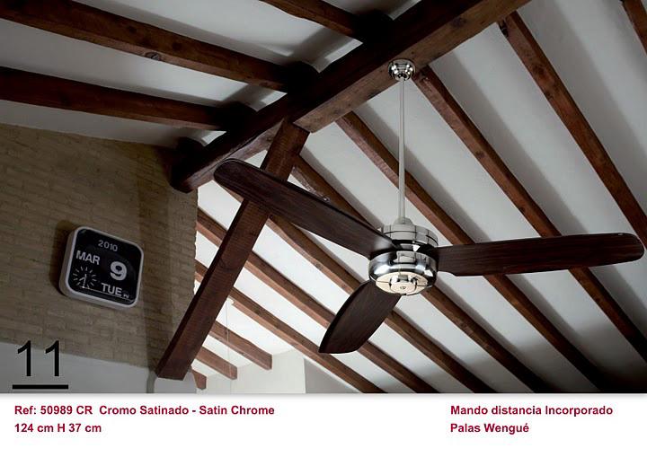 Ventilador de techo blanco con mando a distancia cromo - Techos de madera blanco ...