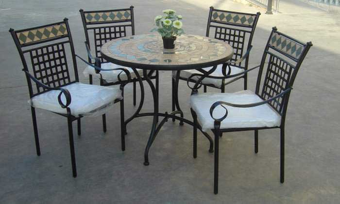 Cojunto 4 sillones y mesa forja jardin grade blog de for Mesa y sillones para jardin