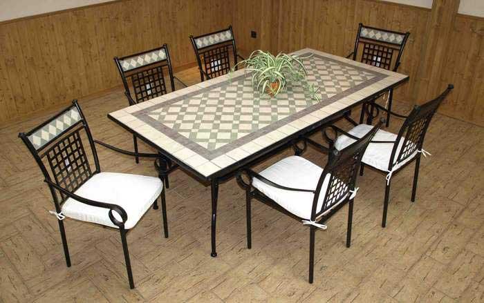 Juego de mesa grande y 6 sillones blog de artesania y for Sillas de forja para jardin