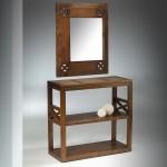 Mueble recibidor con espejo colonial