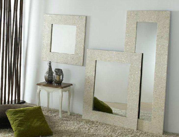 Espejo cuadrado madre perla 3 tama os blog de artesania for Decoracion con espejos cuadrados