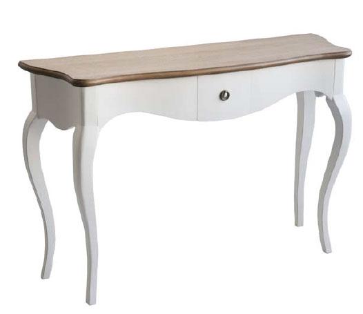 Consola bicolor madera roble y blanca, mueble para el recibidor con 1 cajon