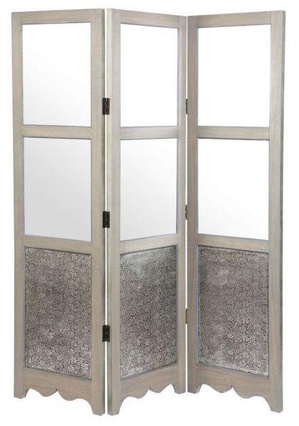 Biombo Paraban Repujado Con Espejo Silver III