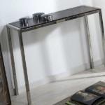 Consola recibidor acero y eco piel, mueble entrada moderno, mueble para el recibidor