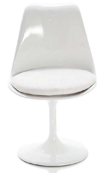 Silla Fibra Color Blanca Cojin Blanco