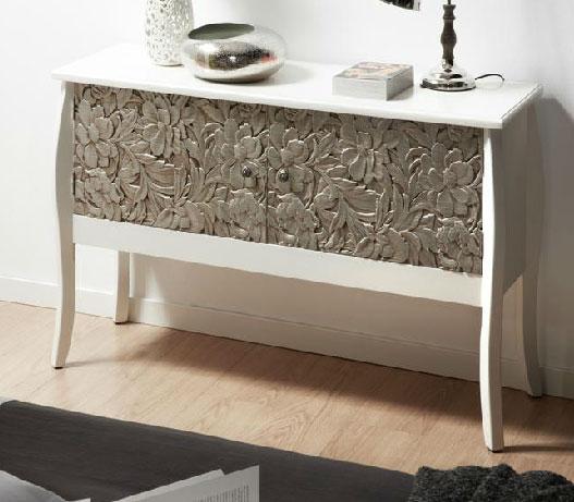 Aparador blanco plata tallado ogos blog de artesania y decoracion - Muebles pintados en plata ...