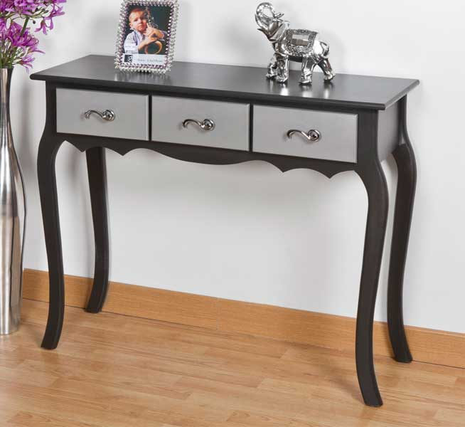 Consola grafito y plata 3 cajones dexis blog de artesania y decoracion - Muebles pintados en plata ...