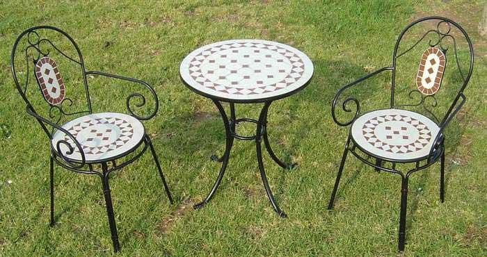 Conjunto 1 mesa forja y 2 sillones con cojin blog de - Muebles de teca para jardin ...