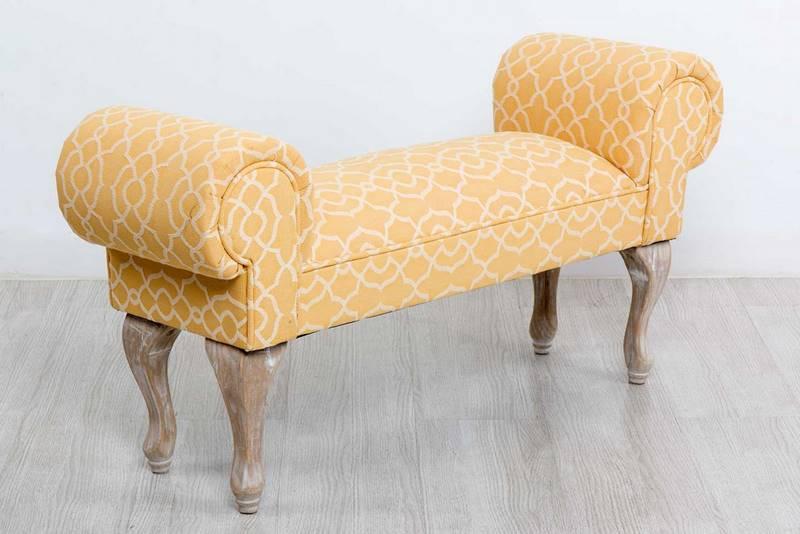 Banco pie de cama largo tela amarilla cerran blog de for Bancos para pie de cama