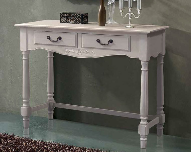 mueble recibidor cajones torneado blanco alberoni
