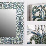Espejo Mosaico Blanco Azul Amour