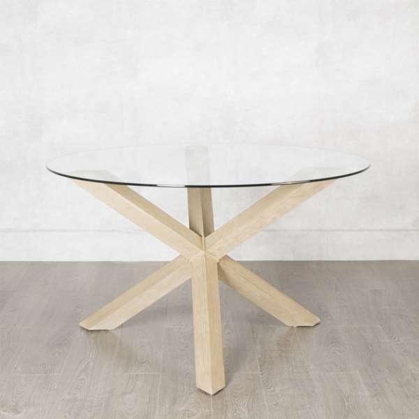 Mesa redonda 2 tama os cristal madera roble haix blog de - Mesas cristal redondas ...