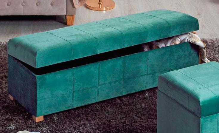 Descalzadora baul dormitorio tapizado turquesa blog de artesania y decoracion - Baules tapizados dormitorio ...
