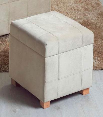 Taburete baul peque o tapizado crema blog de artesania y decoracion - Baules tapizados dormitorio ...
