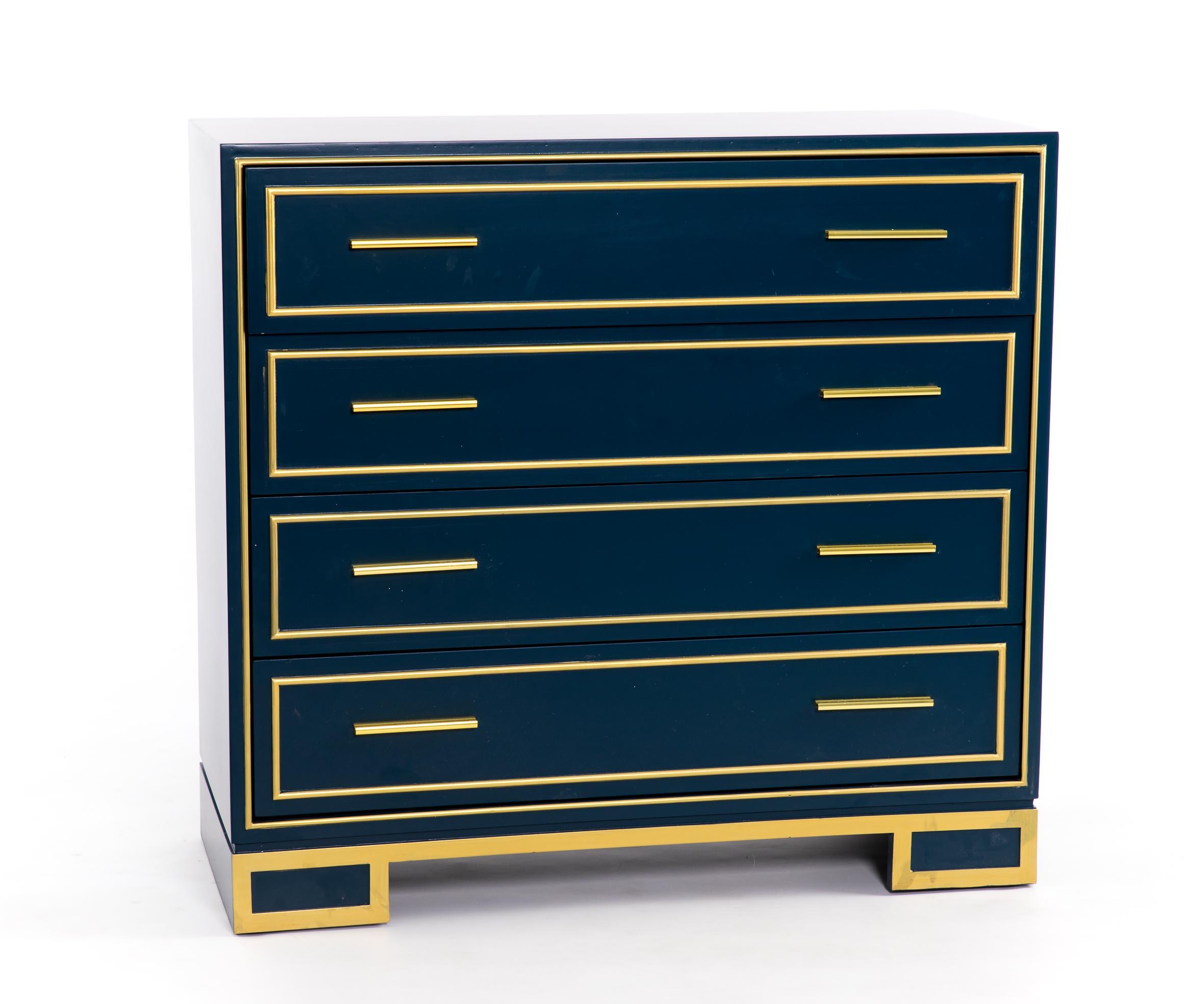 Comoda retro azul dorado 4 cajones