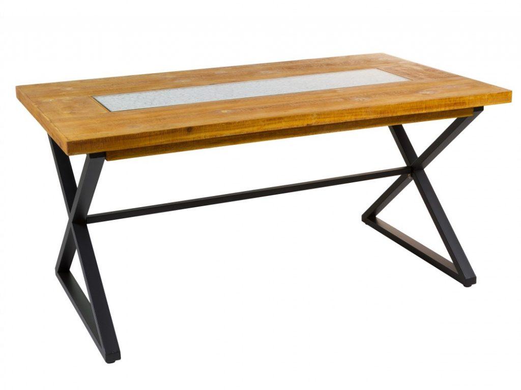 Mesa comedor madera metal tallado estilo rustico actual