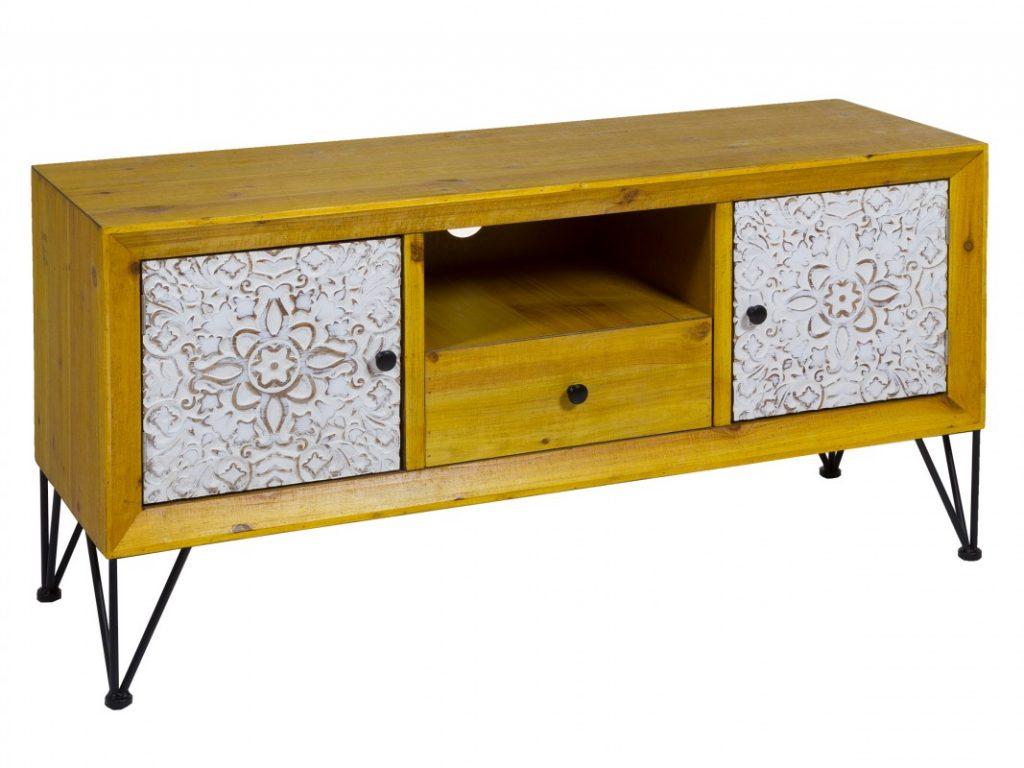 Mueble television tallado estilo rustico actual