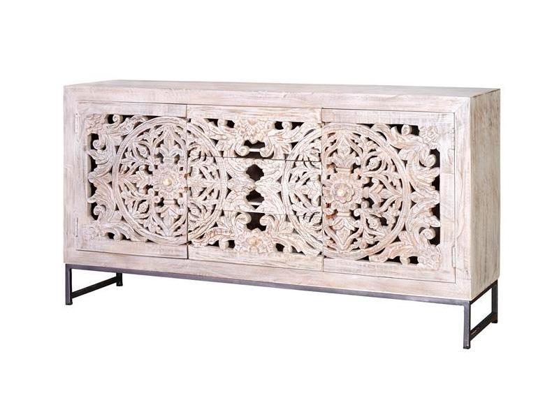 Aparador estilo oriental etnico tallado blanco decape