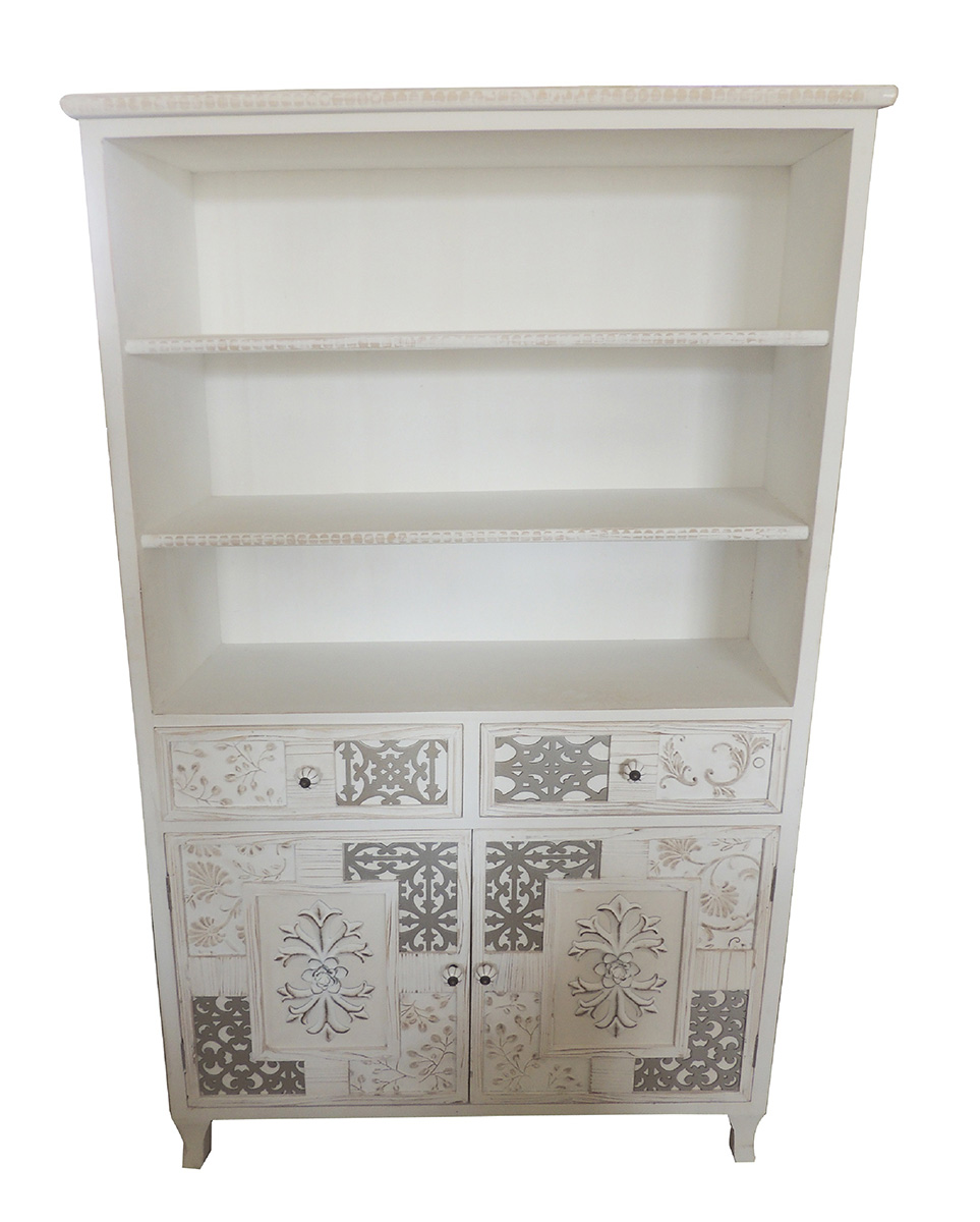 Estanteria libreria estilo rustico decape blanco