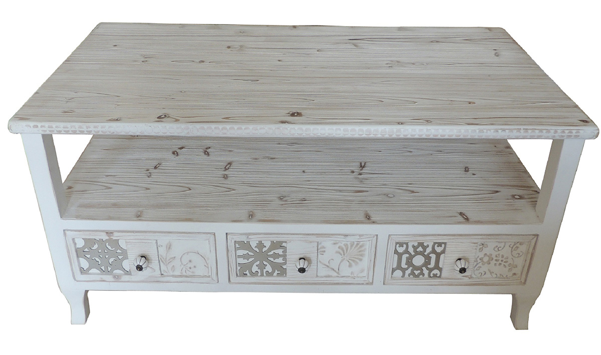 Mesa de centro estilo rustico blanco decape decorada