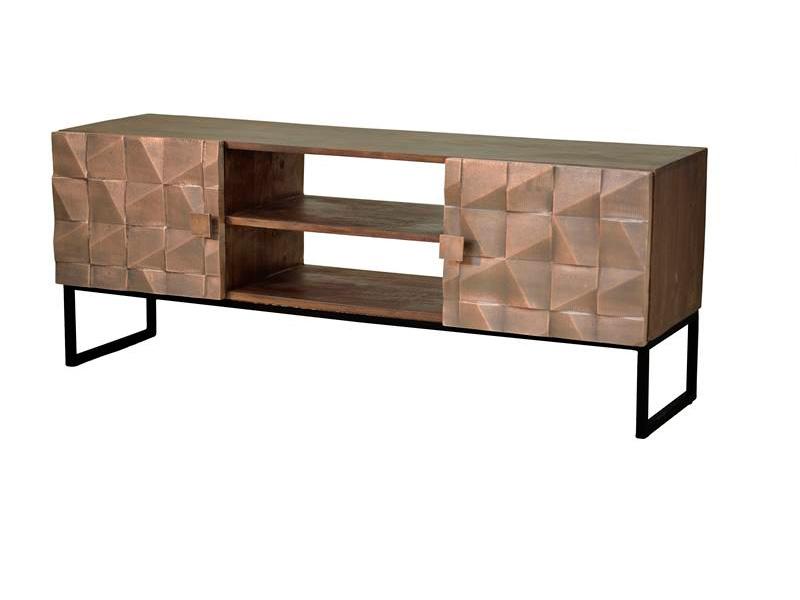 Mueble TV estilo moderno bronce tallado