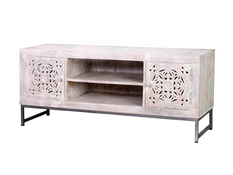Mueble television estilo oriental etnico tallado blanco decape