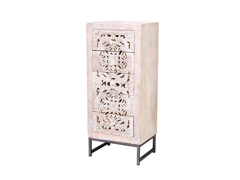 Sinfonier 5 cajones estilo oriental etnico tallado blanco decape