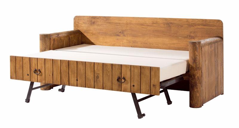 Sofa cama estilo rustico madera maciza