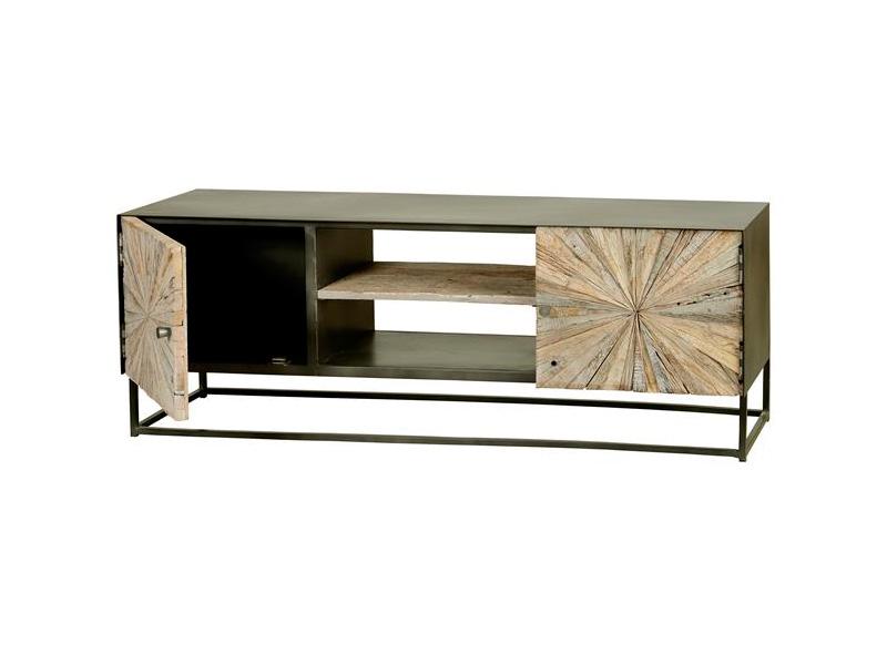 Mueble TV estilo industrial madera reciclada
