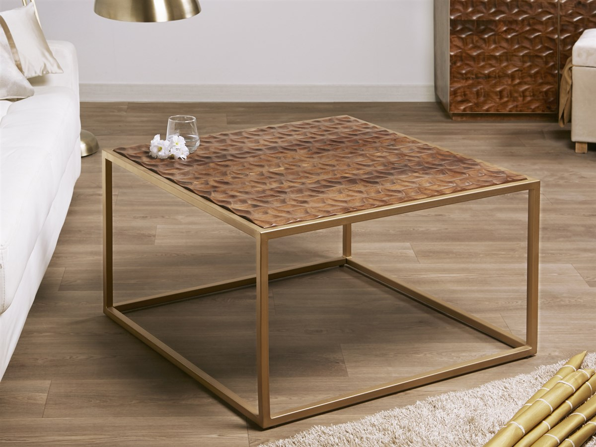 Mesa baja cafetera cuadrada madera tallada