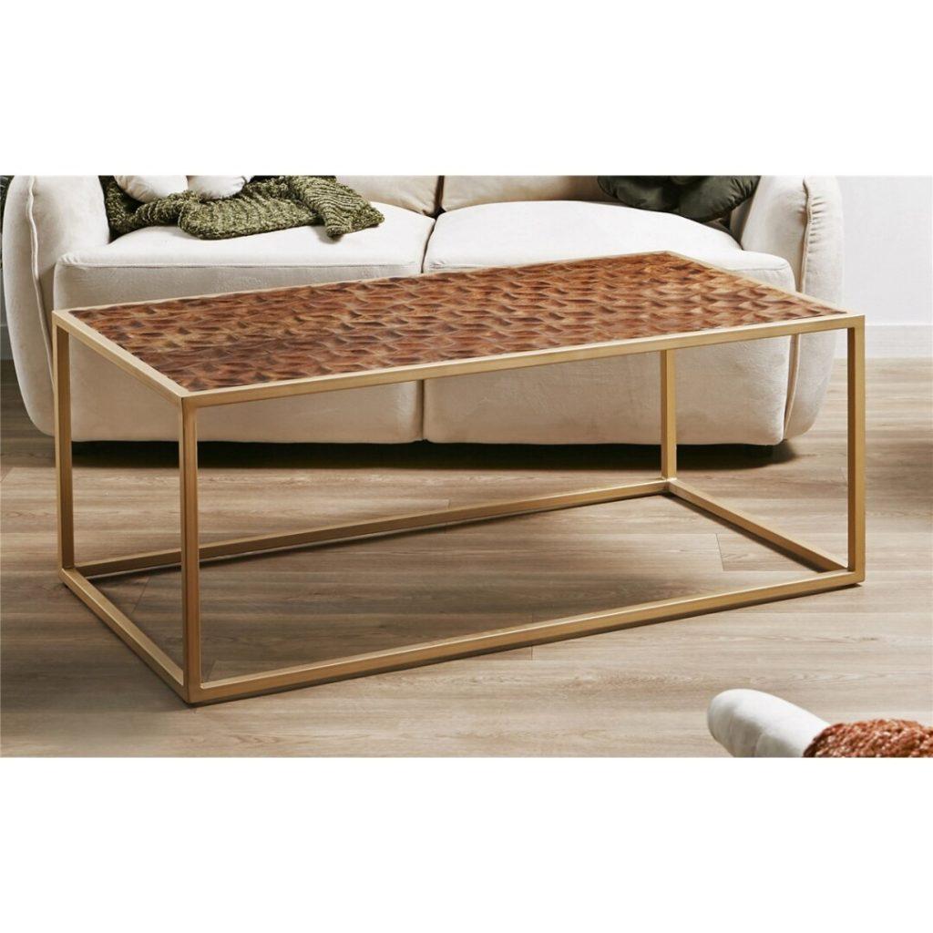 Mesa de centro madera tallada y forja actual