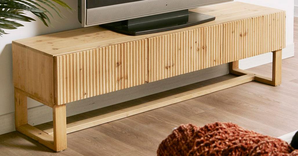 Mueble television estilo actual madera natural