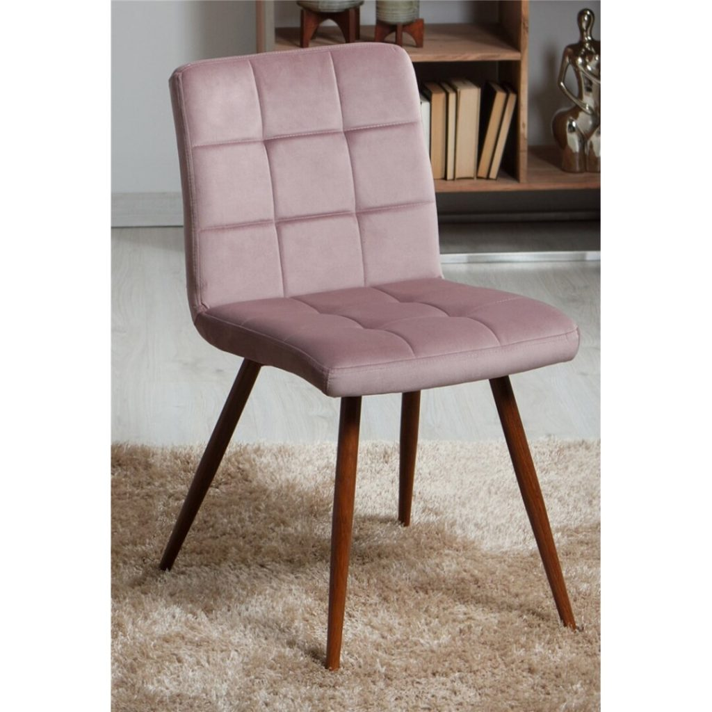 Silla comedor contemporanea tapizada rosa palido