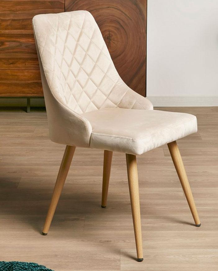 Silla comedor estilo actual tapizada beige