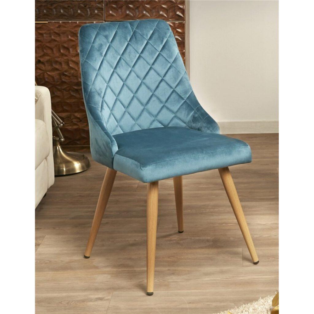 Silla salon comedor tapizada azul estilo actual