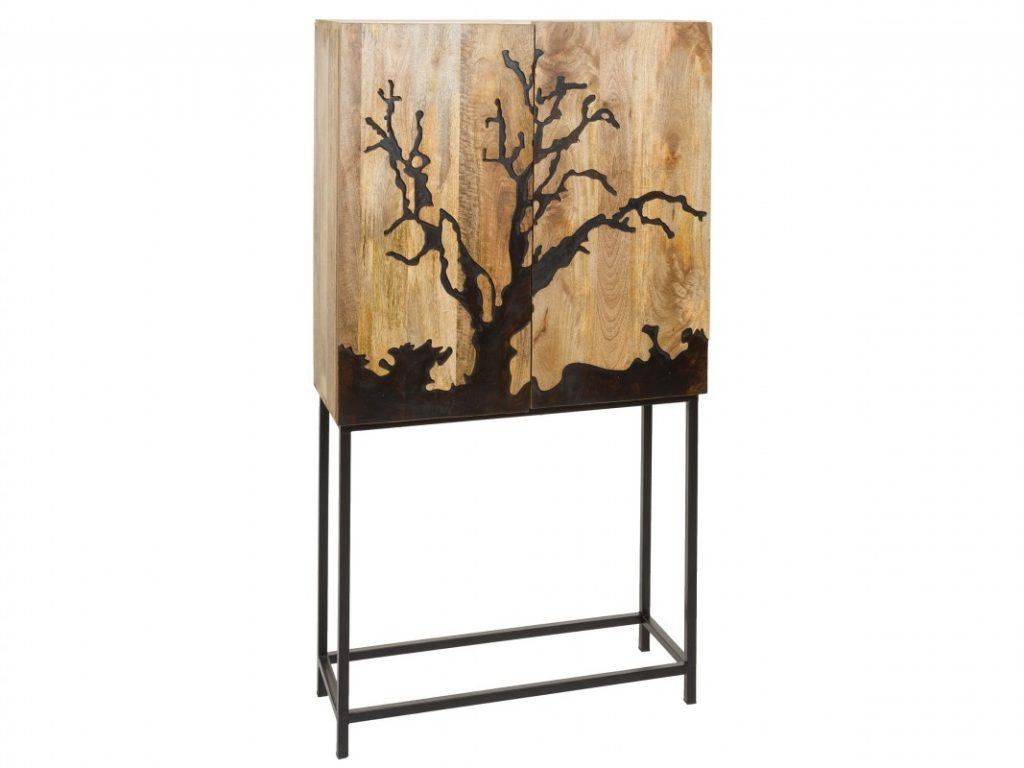 Vitrina salon madera tallada moderna