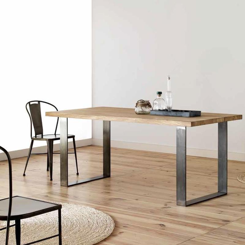 Mesa comedor acero y madera actual
