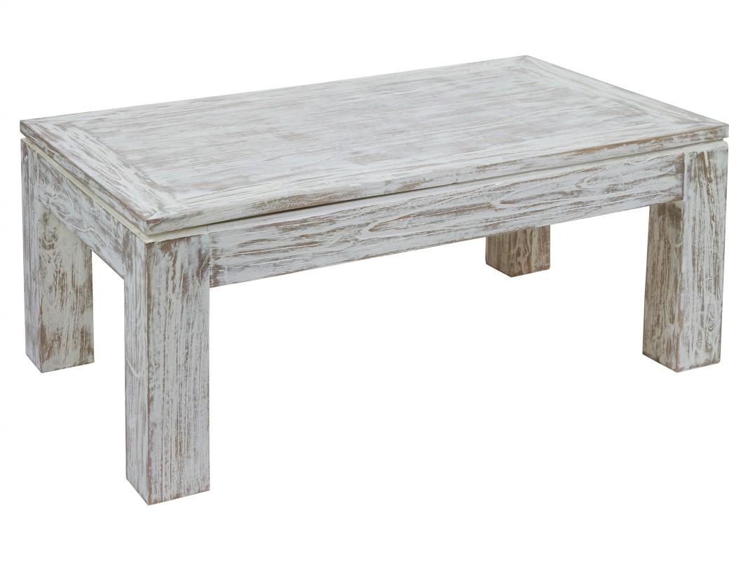 Mesa de centro blanco decapado
