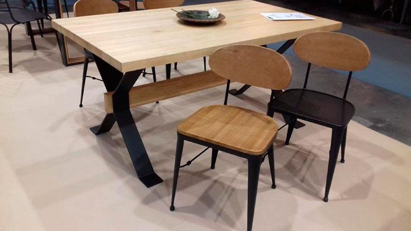 Mesa salon comedor forja madera rustica