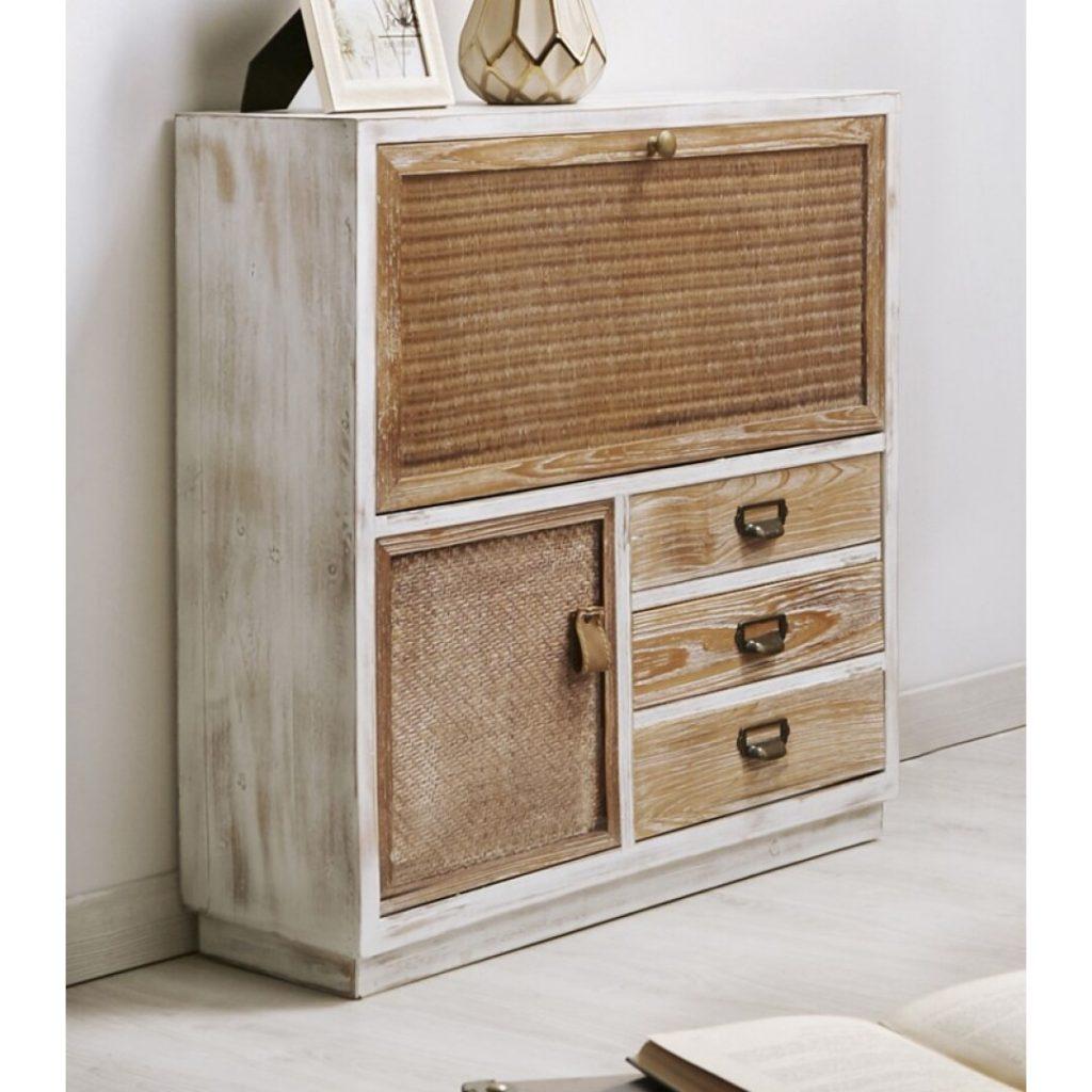 Mueble zapatero con cajones y puerta rustico