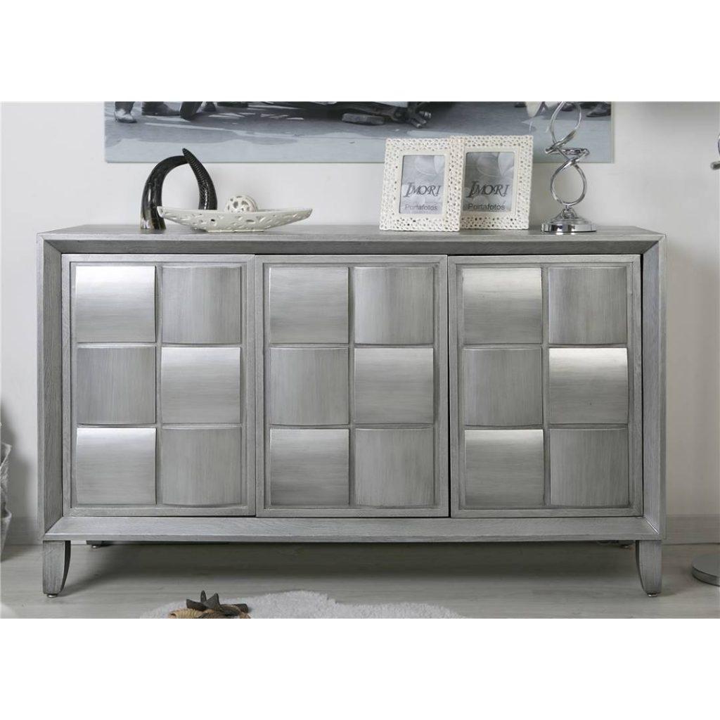 Aparador salon recibidor 3 puertas en plata