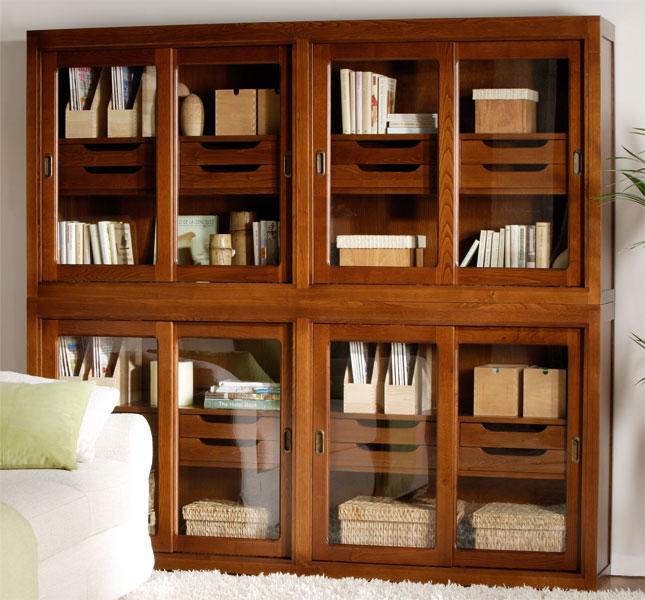Libreria clasica colonial puertas correderas