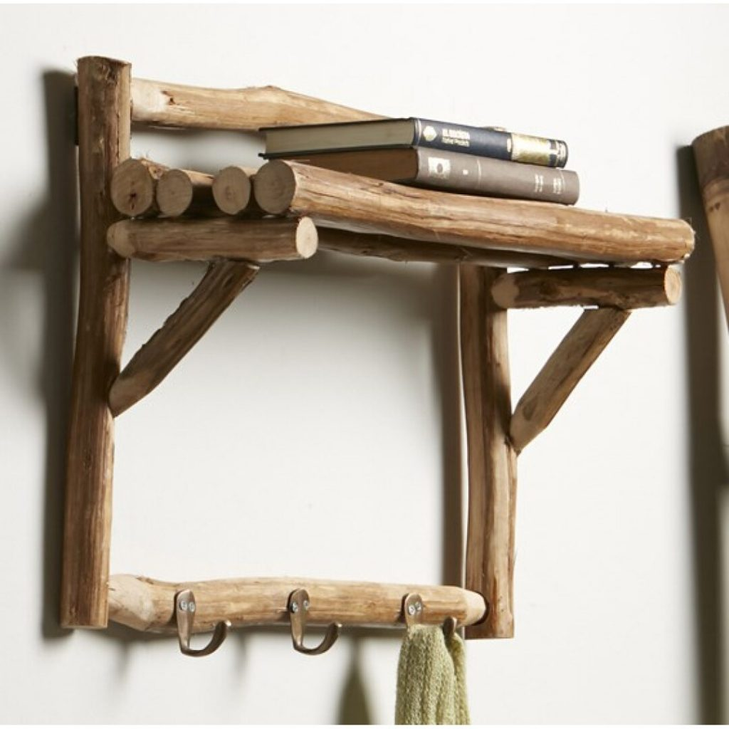 Perchero pared troncos de teca