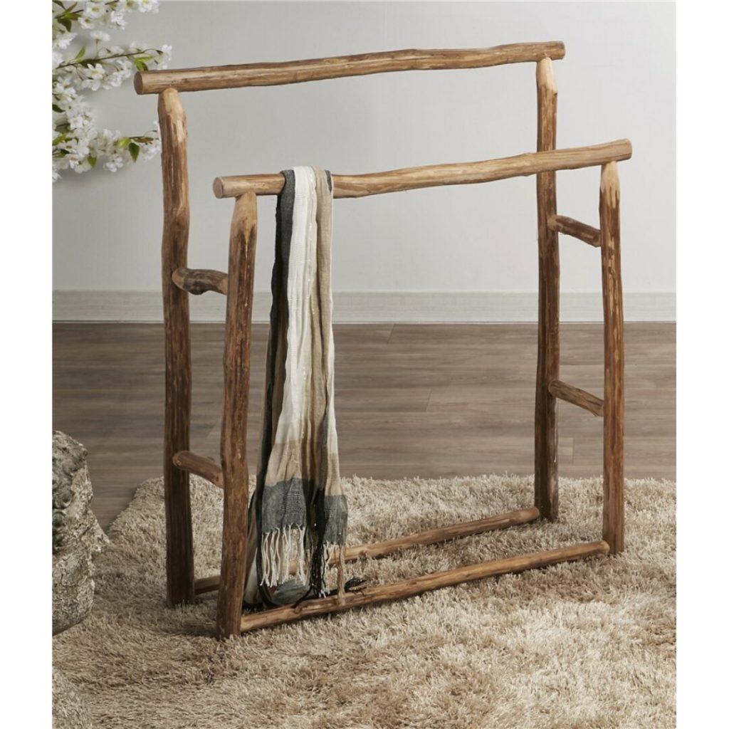 Toallero rustico troncos de teca natural grande
