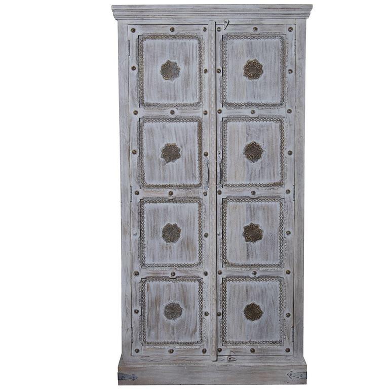 Armario oriental 2 puertas tallado decape blanco